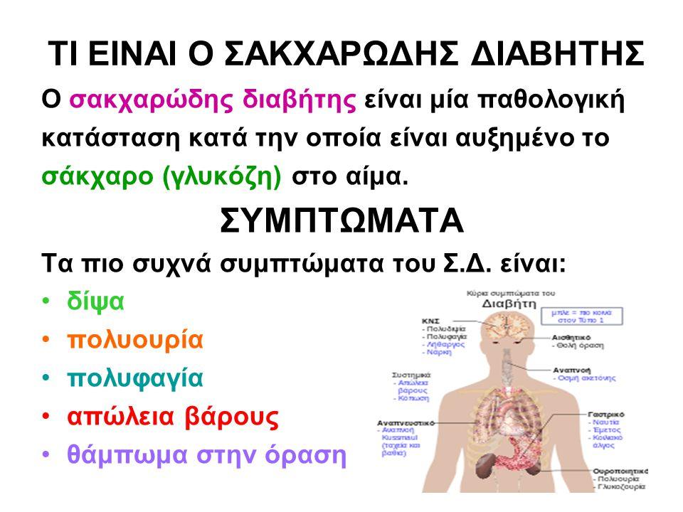 ΤΙ ΕΙΝΑΙ Ο ΣΑΚΧΑΡΩΔΗΣ ΔΙΑΒΗΤΗΣ Ο σακχαρώδης διαβήτης είναι μία παθολογική κατάσταση κατά την οποία είναι αυξημένο το σάκχαρο (γλυκόζη) στο αίμα. ΣΥΜΠΤ