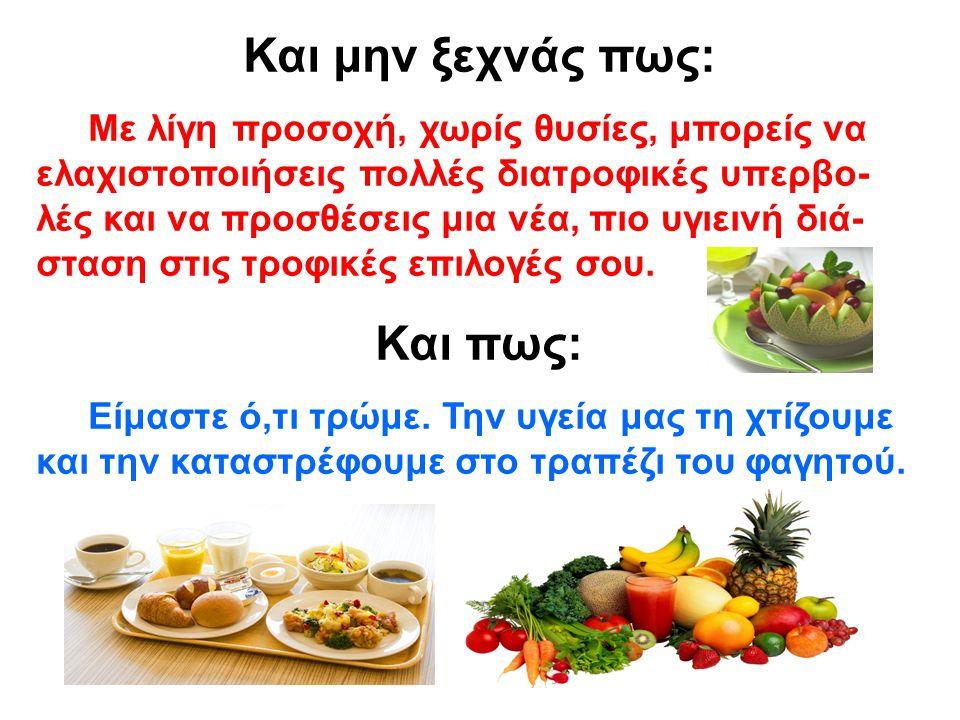 Η ΠΥΡΑΜΙΔΑ ΤΗΣ ΥΓΙΕΙΝΗΣ ΔΙΑΤΡΟΦΗΣ Δημητριακά – Ζυμαρικά Αμυλώδη Φρούτα-Λαχανικά Γαλακτοκομικά Πουλερικά Ψάρια- Κρέας Αυγά Λίπη Γλυκά ΚΑΘΕ ΜΕΡΑ 2 ΕΩΣ 3 ΦΟΡΕΣ ΤΗΝ ΕΒΔΟΜΑΔΑ ΣΠΑΝΙΑ ΚΑΘΕ ΜΕΡΑ ΦΥΣΙΚΗ ΔΡΑΣΤΗΡΙΟΤΗΤΑ