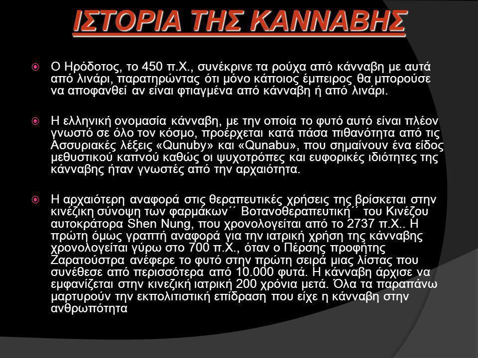  Ο Ηρόδοτος, το 450 π.Χ., συνέκρινε τα ρούχα από κάνναβη με αυτά από λινάρι, παρατηρώντας ότι μόνο κάποιος έμπειρος θα μπορούσε να αποφανθεί αν είναι φτιαγμένα από κάνναβη ή από λινάρι.