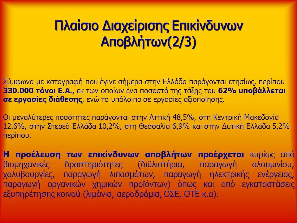 Πλαίσιο Διαχείρισης Επικίνδυνων Αποβλήτων(2/3) Σύμφωνα με καταγραφή που έγινε σήμερα στην Ελλάδα παράγονται ετησίως, περίπου 330.000 τόνοι Ε.Α., εκ τω
