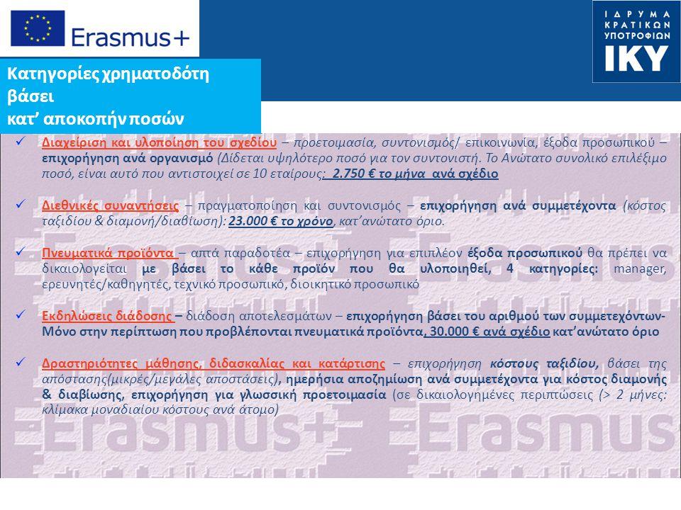 Date: in 12 pts Ειδικές κατηγορίες κατ'εξαίρεση δαπανών  Κάλυψη δαπανών βάσει πραγματικού κόστους που σχετίζονται με υπεργολαβίες ή αγορά προϊόντων/υπηρεσιών  75% επιλέξιμων δαπανών: 50.000€ κατ'ανώτατο όριο, ανά σχέδιο  Δεν καλύπτεται τυπικός εξοπλισμός γραφείου Άτομα με αναπηρίες  100% χρηματοδότηση των επιπλέον δαπανών που σχετίζονται με τη συμμετοχή ατόμων με αναπηρίες στο σχέδιο Χρηματοδότηση βάσει πραγματικού κόστους