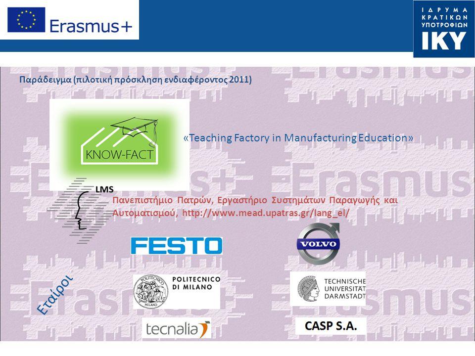 Παράδειγμα (πιλοτική πρόσκληση ενδιαφέροντος 2011) Εταίροι Πανεπιστήμιο Πατρών, Εργαστήριο Συστημάτων Παραγωγής και Αυτοματισμού, http://www.mead.upat