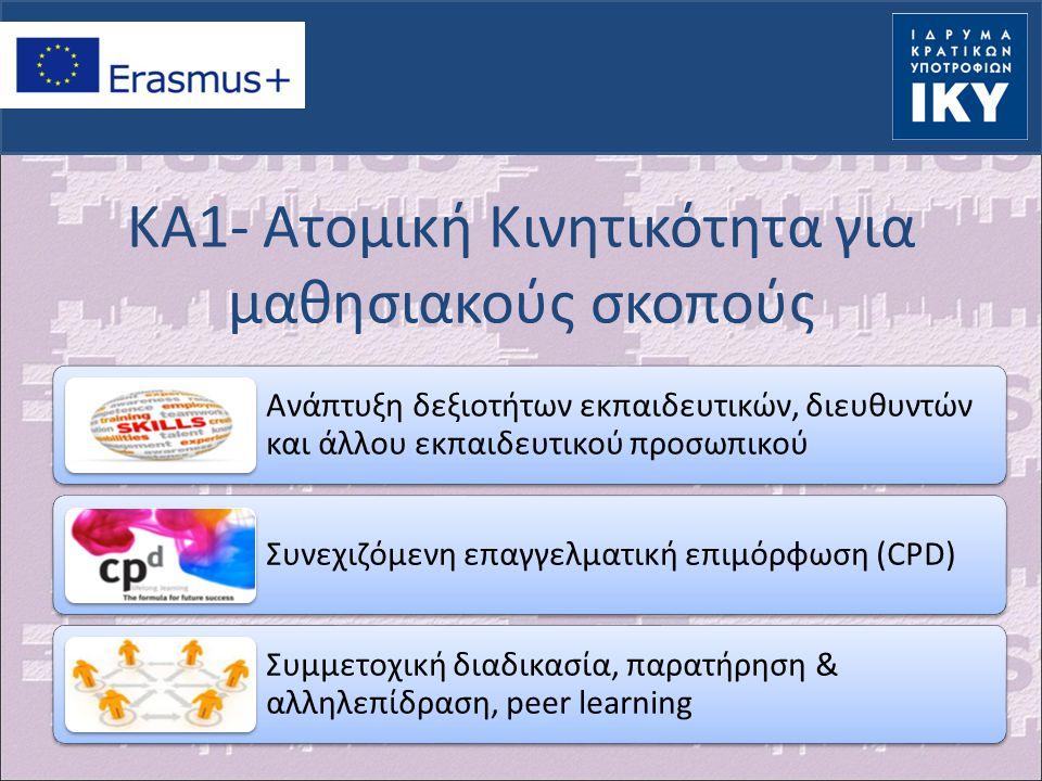 KA2: Strategic Partnerships – τομέας Σχολικής Εκπαίδευσης (1)  Συμμετέχοντες φορείς: Σχολεία (Δημόσια – Ιδιωτικά) Ιδρύματα Ανώτατης Εκπαίδευσης Φορείς που δραστηριοποιούνται στο χώρο της εκπαίδευσης Μη κυβερνητικές οργανώσεις Επιχειρήσεις Κοινωνικοί εταίροι και εκπρόσωποι της εργασίας Δημόσιοι τοπικοί ή περιφερειακοί φορείς Ερευνητικά και επιμορφωτικά κέντρα Πολιτιστικοί οργανισμοί Φορείς πιστοποίησης προσόντων Συμβουλευτικοί φορείς Οργανισμοί νεότητας Οποιοσδήποτε άλλος οργανισμός δραστηριοποιείται σε κάθε πεδίο της εκπαίδευσης, κατάρτισης και νεολαίας ή στον κοινωνικό και οικονομικό τομέα και μπορεί να συνεισφέρει στην εκπλήρωση των στόχων του προγράμματος και του σχολείου