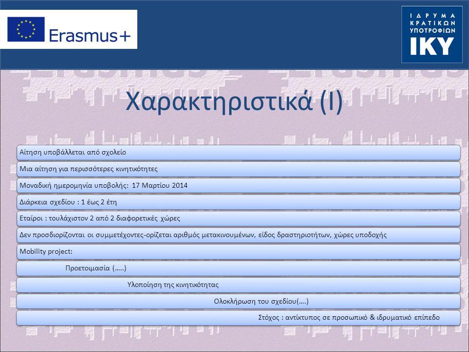 Χαρακτηριστικά (II) Σχολείο αποστολής-φορέας (φορείς) υποδοχής Διάρκεια: 2 ημέρες-2 μήνες Δραστηριότητες:-τοποθέτηση για διδασκαλία σε σχολείο εταίρο επιμόρφωσης προσωπικού Συμμετοχή σε σεμινάρια, συνέδρια, επιτόπια παρακολούθηση εργασίας σε σχολείο ή άλλο φορέα του χώρου της σχολικής εκπαίδευσης