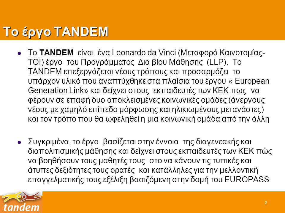 2 Το έργο TANDEM Το TANDEM είναι ένα Leonardo da Vinci (Μεταφορά Καινοτομίας- TOI) έργο του Προγράμματος Δια βίου Μάθησης (LLP). Το TANDEM επεξεργάζετ