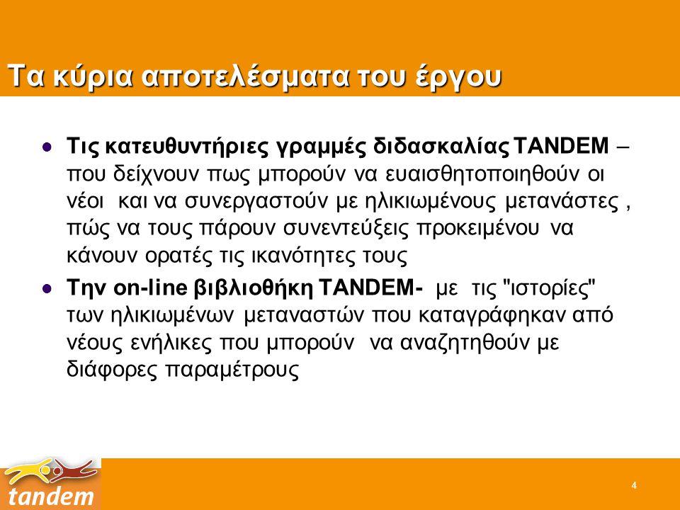Τα κύρια αποτελέσματα του έργου Τις κατευθυντήριες γραμμές διδασκαλίας TANDEM – που δείχνουν πως μπορούν να ευαισθητοποιηθούν οι νέοι και να συνεργαστ