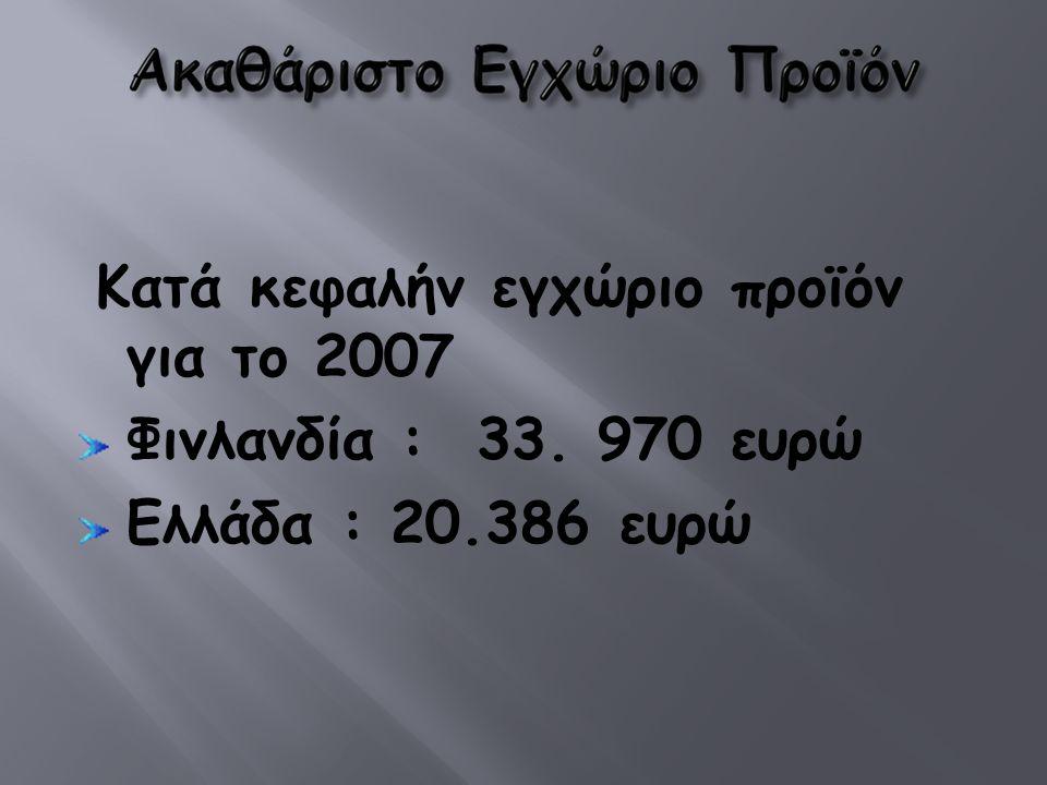 Κατά κεφαλήν εγχώριο προϊόν για το 2007 Φινλανδία : 33. 970 ευρώ Ελλάδα : 20.386 ευρώ