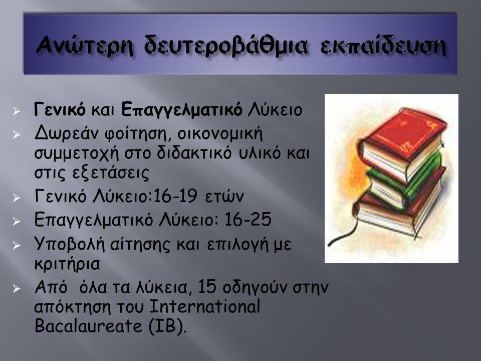  Γενικό και Επαγγελματικό Λύκειο  Δωρεάν φοίτηση, οικονομική συμμετοχή στο διδακτικό υλικό και στις εξετάσεις  Γενικό Λύκειο:16-19 ετών  Επαγγελματικό Λύκειο: 16-25  Υποβολή αίτησης και επιλογή με κριτήρια  Από όλα τα λύκεια, 15 οδηγούν στην απόκτηση του International Bacalaureate (IB).