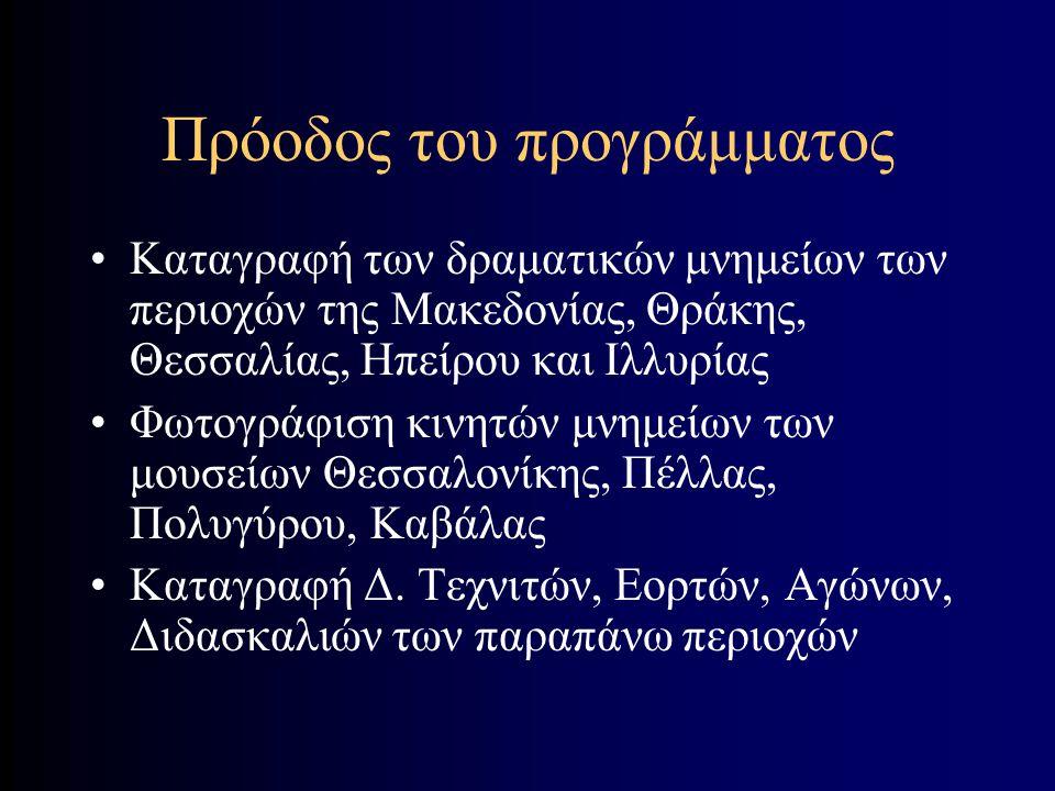 Θεματικές ενότητες Αρχαιολογικό μέρος Μνημεία σχετικά με το αρχαίο θέατρο Φιλολογικό μέρος Διονυσιακοί Τεχνίτες Θεάματα - Ακροάματα