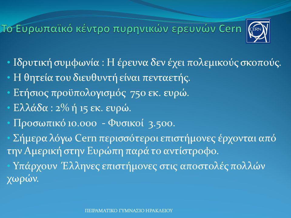 Ιδρυτική συμφωνία : Η έρευνα δεν έχει πολεμικούς σκοπούς. Η θητεία του διευθυντή είναι πενταετής. Ετήσιος προϋπολογισμός 750 εκ. ευρώ. Ελλάδα : 2% ή 1