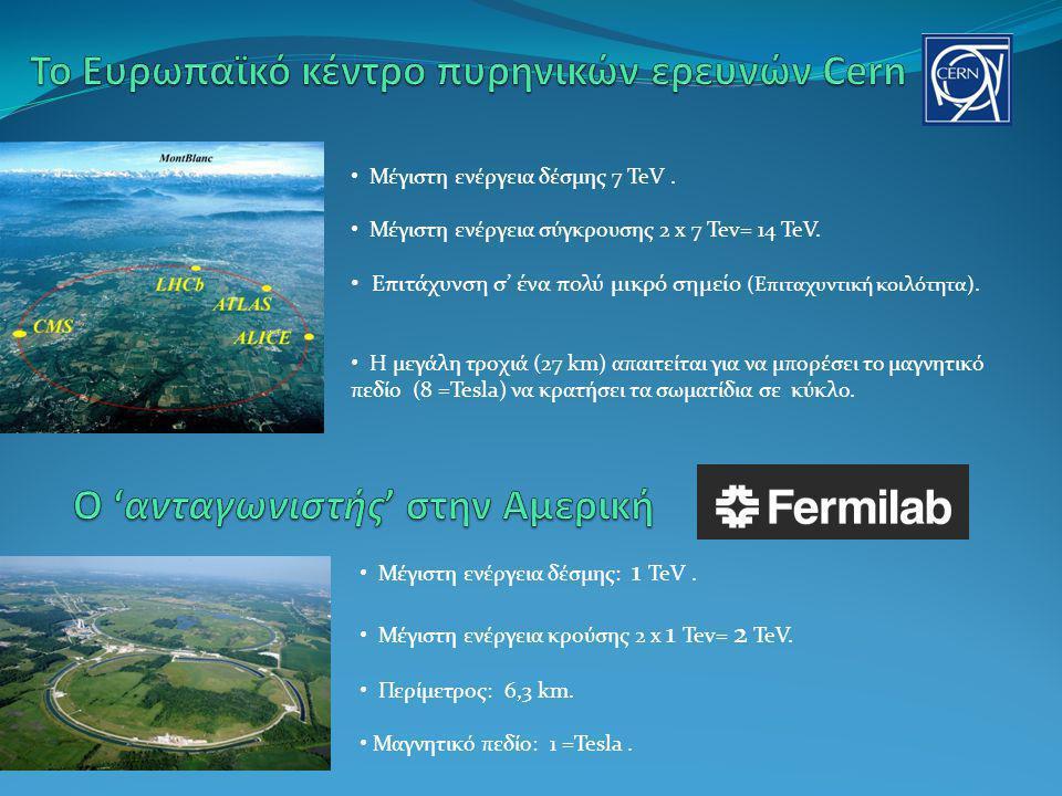 Μέγιστη ενέργεια δέσμης 7 TeV. Μέγιστη ενέργεια σύγκρουσης 2 x 7 Tev= 14 TeV. Επιτάχυνση σ' ένα πολύ μικρό σημείο (Επιταχυντική κοιλότητα). Η μεγάλη τ