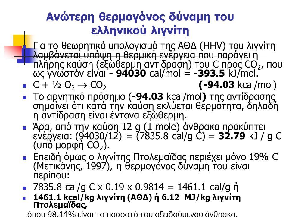 Ανώτερη θερμογόνος δύναμη του ελληνικού λιγνίτη Για το θεωρητικό υπολογισμό της ΑΘΔ (HHV) του λιγνίτη λαμβάνεται υπόψη η θερμική ενέργεια που παράγει