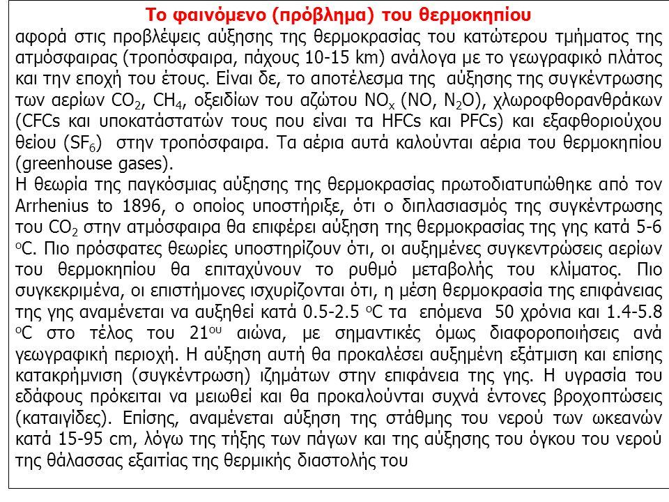 Το φαινόμενο (πρόβλημα) του θερμοκηπίου αφορά στις προβλέψεις αύξησης της θερμοκρασίας του κατώτερου τμήματος της ατμόσφαιρας (τροπόσφαιρα, πάχους 10-