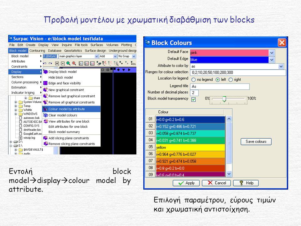 Προβολή μοντέλου με χρωματική διαβάθμιση των blocks Εντολή block model  display  colour model by attribute.
