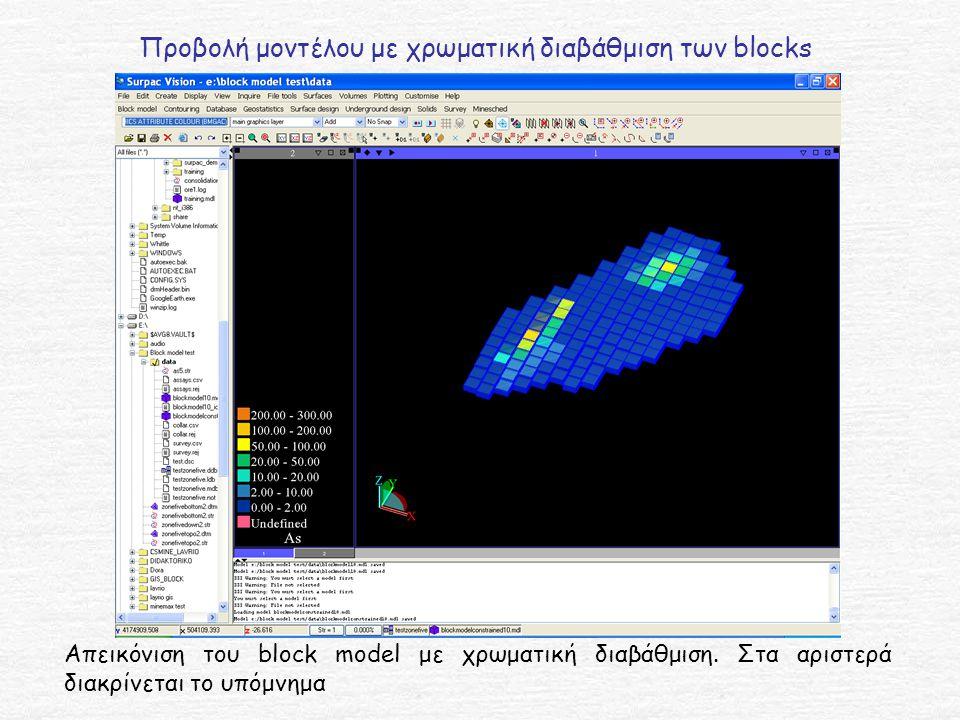 Προβολή μοντέλου με χρωματική διαβάθμιση των blocks Απεικόνιση του block model με χρωματική διαβάθμιση.