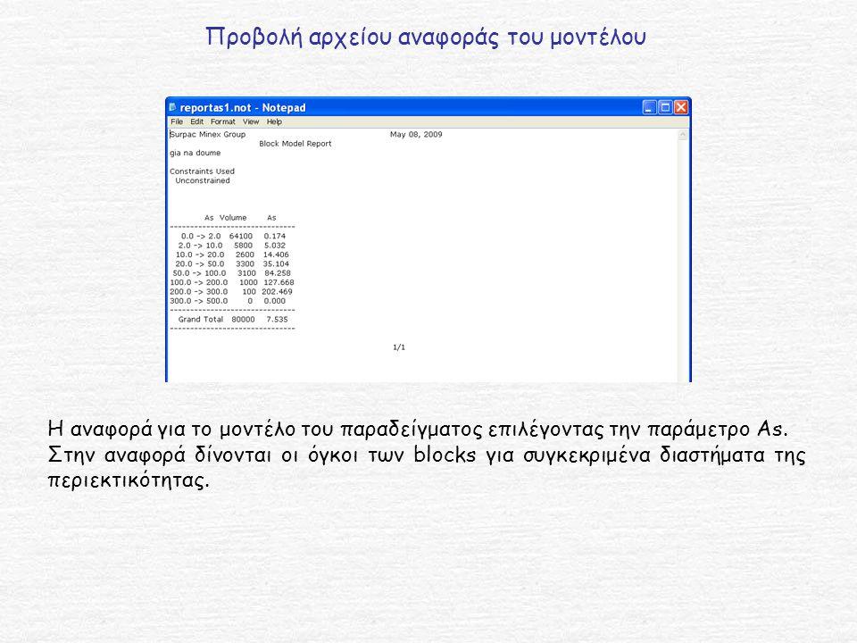 Προβολή αρχείου αναφοράς του μοντέλου Η αναφορά για το μοντέλο του παραδείγματος επιλέγοντας την παράμετρο As.