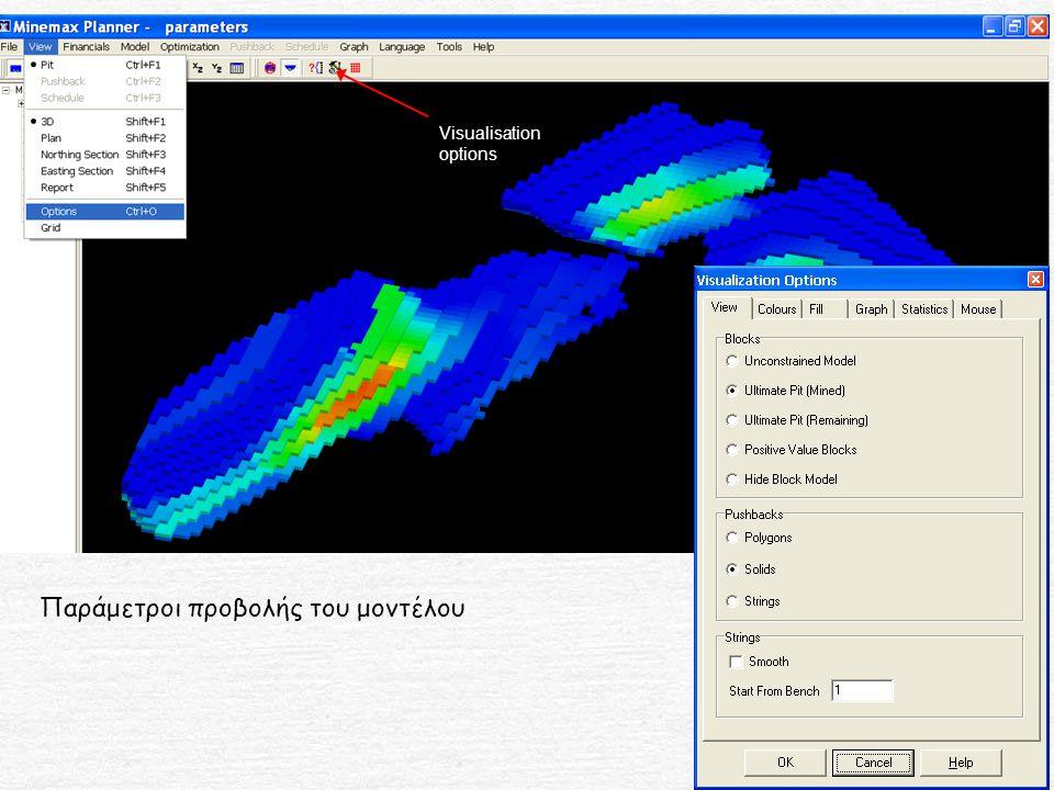 Visualisation options Παράμετροι προβολής του μοντέλου