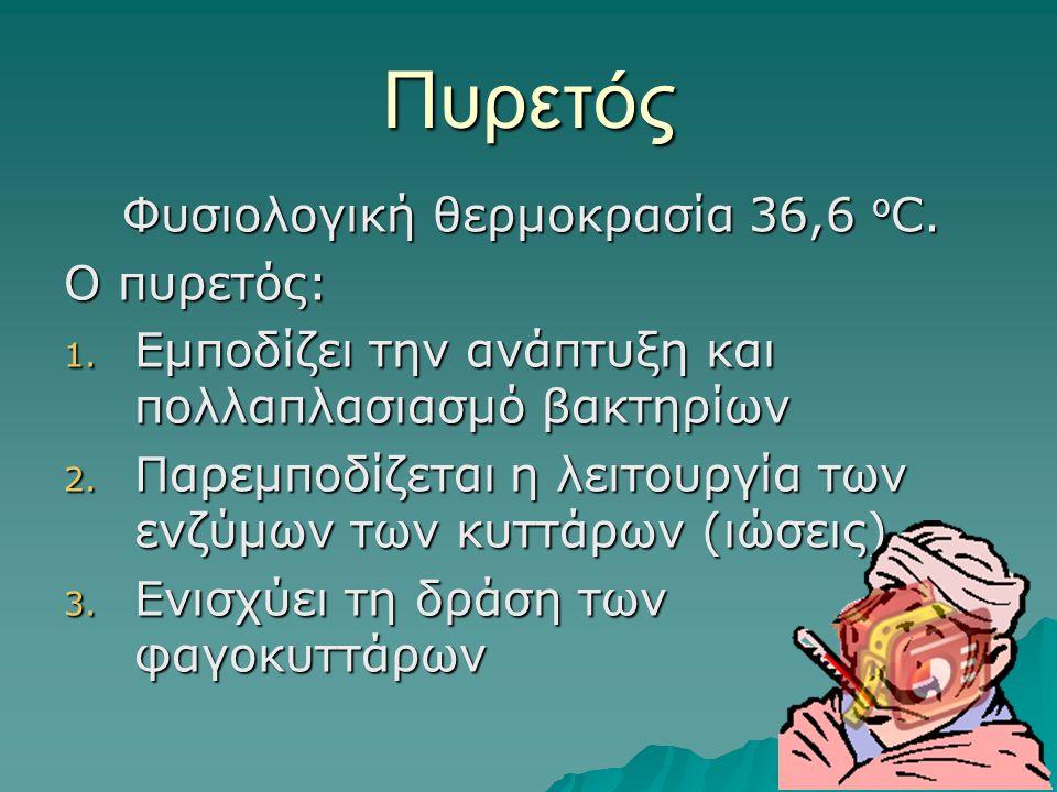 Πυρετός Φυσιολογική θερμοκρασία 36,6 ο C.O πυρετός: 1.