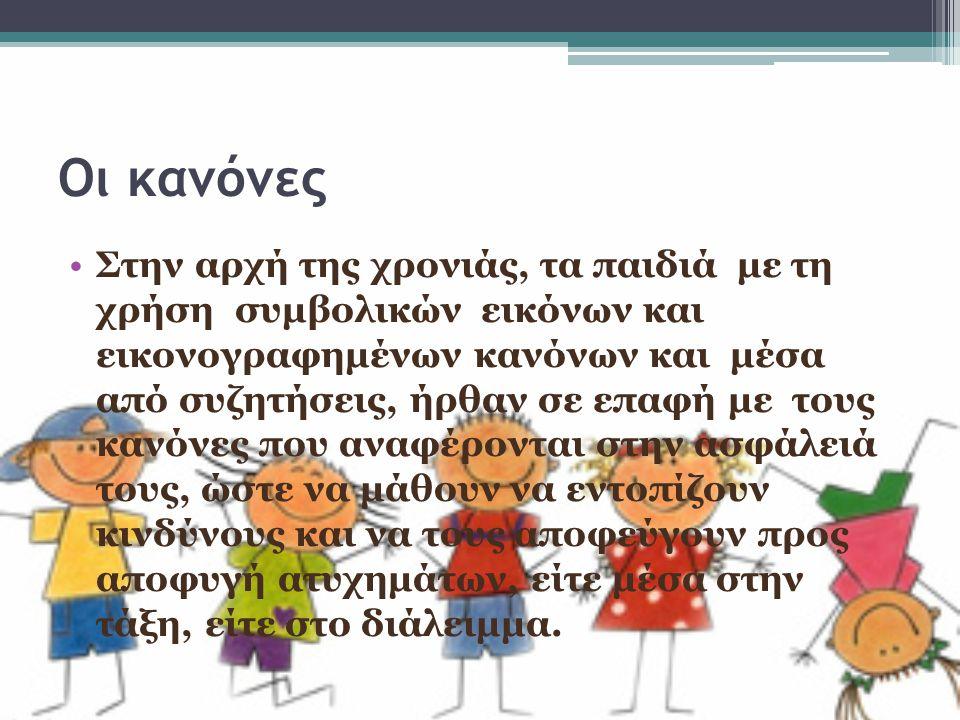 Οι κανόνες Στην αρχή της χρονιάς, τα παιδιά με τη χρήση συμβολικών εικόνων και εικονογραφημένων κανόνων και μέσα από συζητήσεις, ήρθαν σε επαφή με του