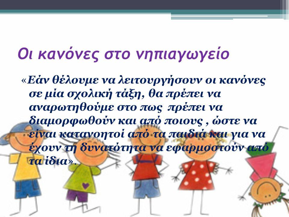 Οι κανόνες στο νηπιαγωγείο Η απάντηση είναι… «Πως είναι προτιμότερο να διαμορφώνονται από τα ίδια τα παιδιά με τη βοήθεια του εκπαιδευτικού και όχι να διαμορφώνονται μονομερώς από τον εκπαιδευτικό».