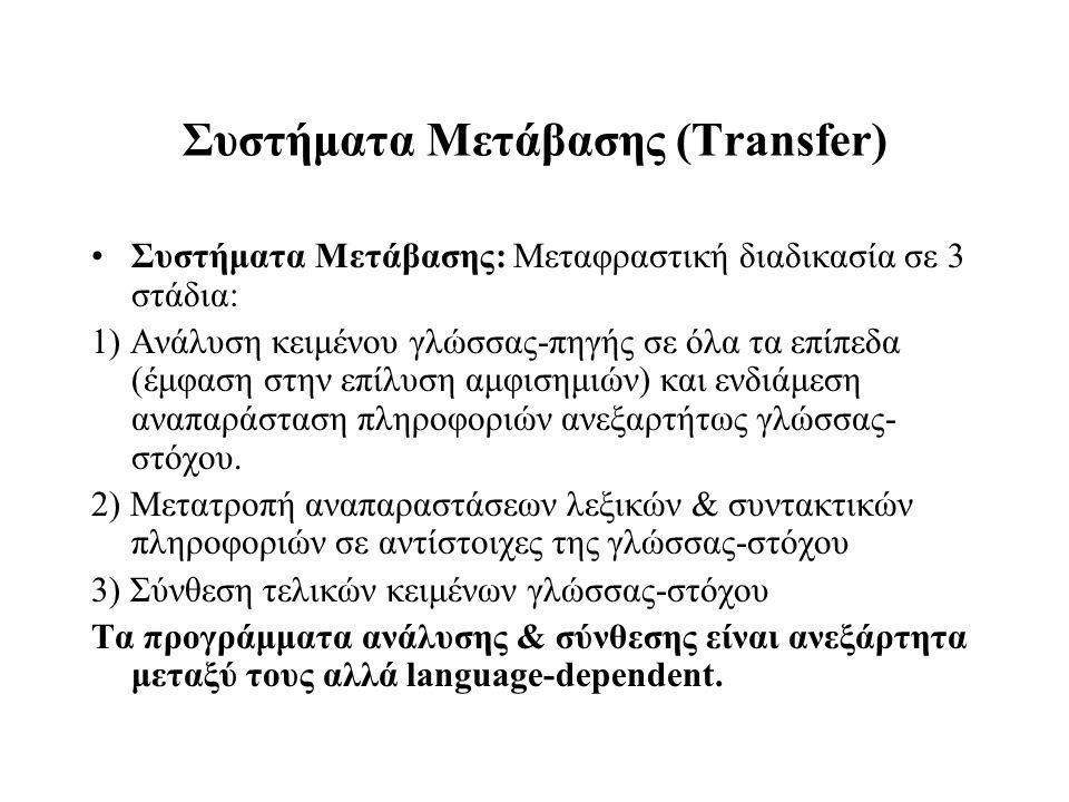 Συστήματα Μετάβασης (Transfer) Συστήματα Μετάβασης: Μεταφραστική διαδικασία σε 3 στάδια: 1) Ανάλυση κειμένου γλώσσας-πηγής σε όλα τα επίπεδα (έμφαση σ