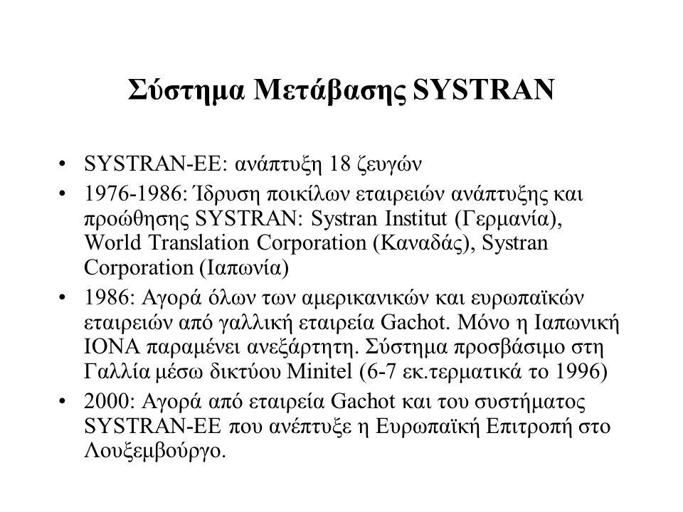 Σύστημα Μετάβασης SYSTRAN SYSTRAN-EE: ανάπτυξη 18 ζευγών 1976-1986: Ίδρυση ποικίλων εταιρειών ανάπτυξης και προώθησης SYSTRAN: Systran Institut (Γερμα
