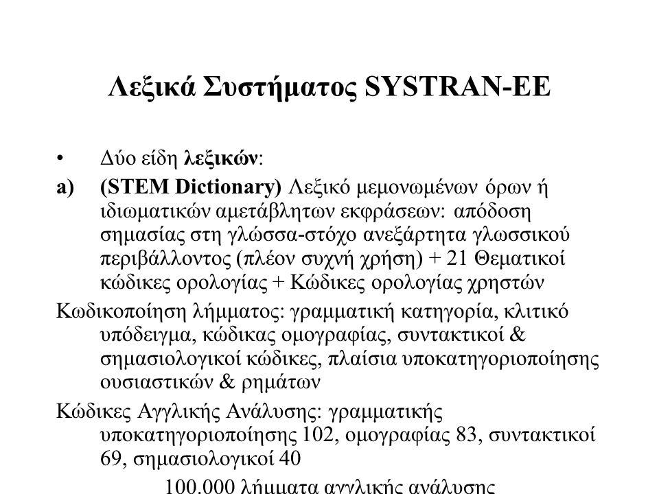 Λεξικά Συστήματος SYSTRAN-ΕΕ Δύο είδη λεξικών: a)(STEM Dictionary) Λεξικό μεμονωμένων όρων ή ιδιωματικών αμετάβλητων εκφράσεων: απόδοση σημασίας στη γ