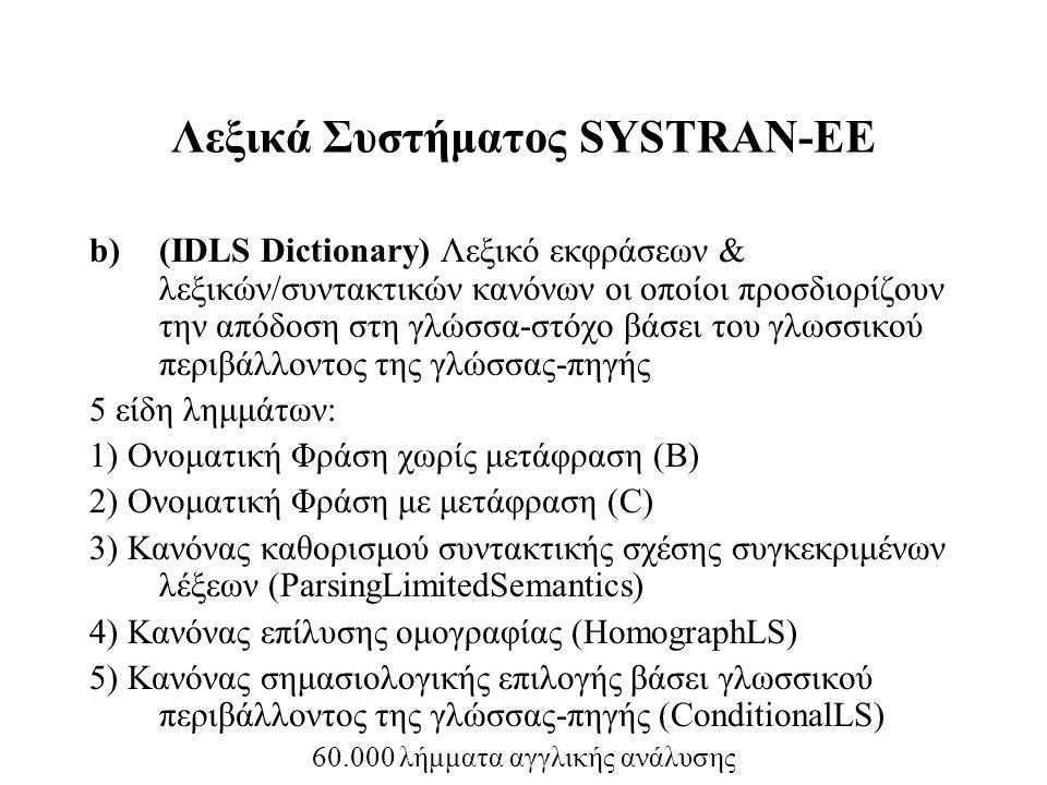Λεξικά Συστήματος SYSTRAN-ΕΕ b)(IDLS Dictionary) Λεξικό εκφράσεων & λεξικών/συντακτικών κανόνων οι οποίοι προσδιορίζουν την απόδοση στη γλώσσα-στόχο β