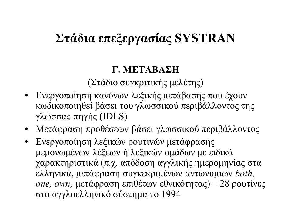 Στάδια επεξεργασίας SYSTRAN Γ. ΜΕΤΑΒΑΣΗ (Στάδιο συγκριτικής μελέτης) Ενεργοποίηση κανόνων λεξικής μετάβασης που έχουν κωδικοποιηθεί βάσει του γλωσσικο