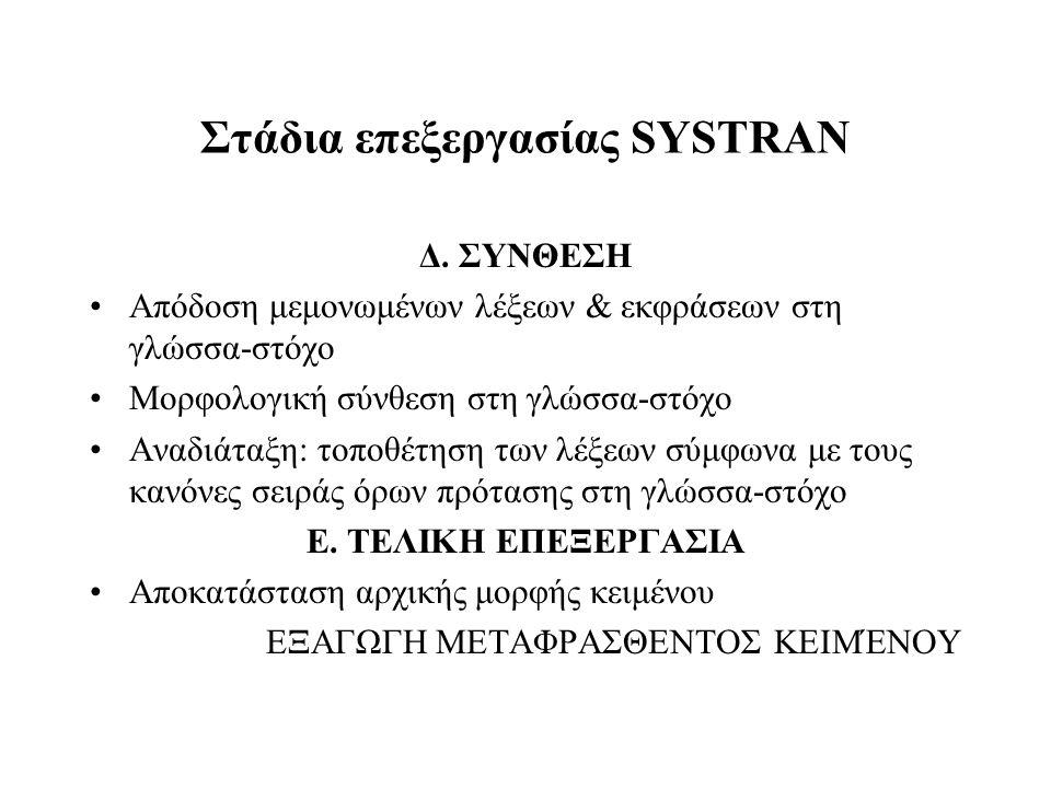 Στάδια επεξεργασίας SYSTRAN Δ. ΣΥΝΘΕΣΗ Απόδοση μεμονωμένων λέξεων & εκφράσεων στη γλώσσα-στόχο Μορφολογική σύνθεση στη γλώσσα-στόχο Αναδιάταξη: τοποθέ