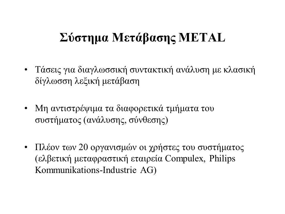 Σύστημα Μετάβασης METAL Τάσεις για διαγλωσσική συντακτική ανάλυση με κλασική δίγλωσση λεξική μετάβαση Μη αντιστρέψιμα τα διαφορετικά τμήματα του συστή