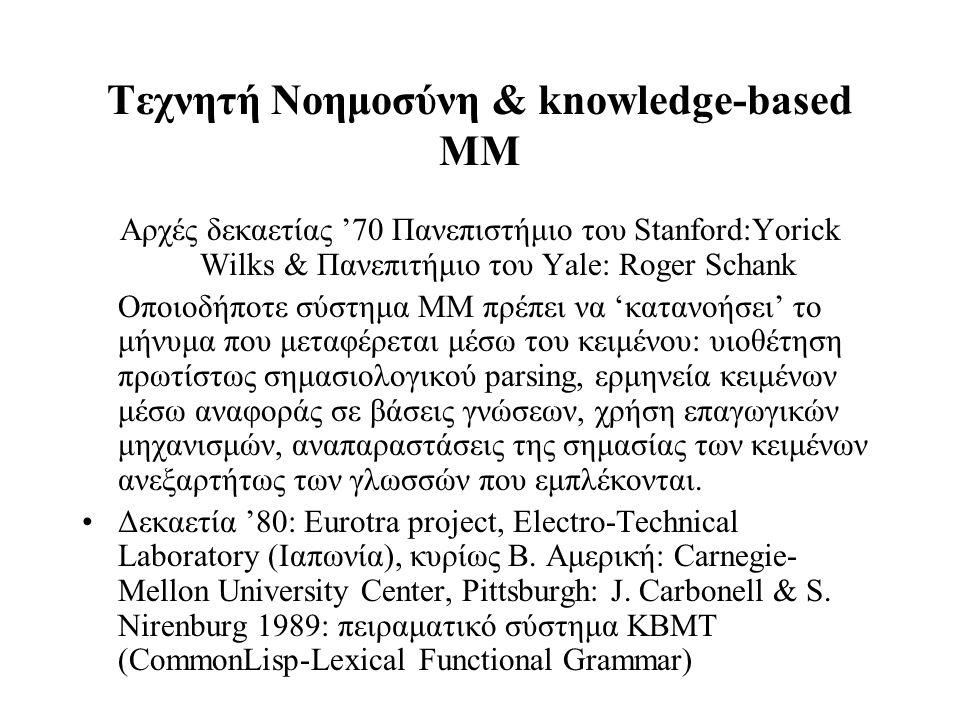 Τεχνητή Νοημοσύνη & knowledge-based ΜΜ Αρχές δεκαετίας '70 Πανεπιστήμιο του Stanford:Yorick Wilks & Πανεπιτήμιο του Yale: Roger Schank Οποιοδήποτε σύσ