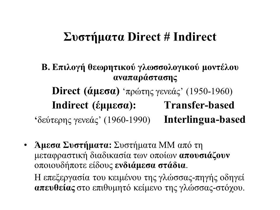 Συστήματα Direct # Indirect Β. Επιλογή θεωρητικού γλωσσολογικού μοντέλου αναπαράστασης Direct (άμεσα) 'πρώτης γενεάς' (1950-1960) Indirect (έμμεσα): T