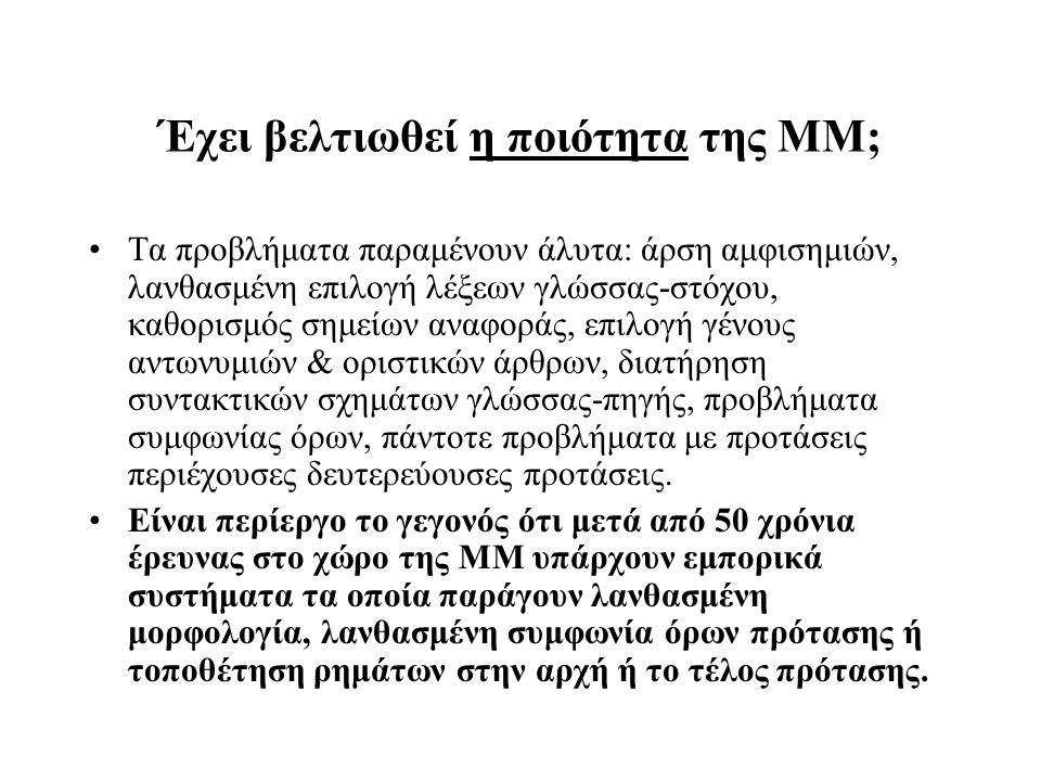 Έχει βελτιωθεί η ποιότητα της ΜΜ; Τα προβλήματα παραμένουν άλυτα: άρση αμφισημιών, λανθασμένη επιλογή λέξεων γλώσσας-στόχου, καθορισμός σημείων αναφορ