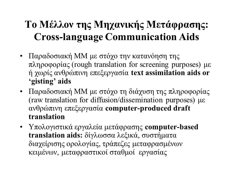 Το Μέλλον της Μηχανικής Μετάφρασης: Cross-language Communication Aids Παραδοσιακή MM με στόχο την κατανόηση της πληροφορίας (rough translation for scr