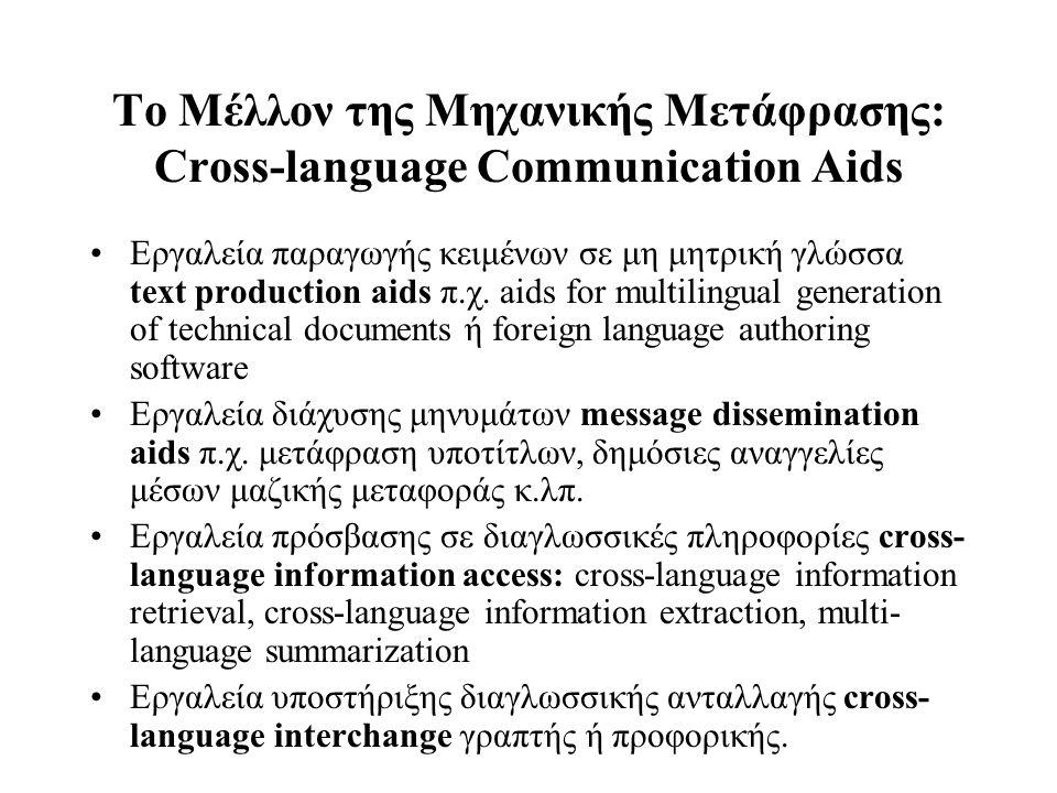 Το Μέλλον της Μηχανικής Μετάφρασης: Cross-language Communication Aids Εργαλεία παραγωγής κειμένων σε μη μητρική γλώσσα text production aids π.χ. aids