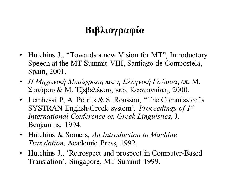 """Βιβλιογραφία Hutchins J., """"Towards a new Vision for MT"""", Introductory Speech at the MT Summit VIII, Santiago de Compostela, Spain, 2001. Η Μηχανική Με"""