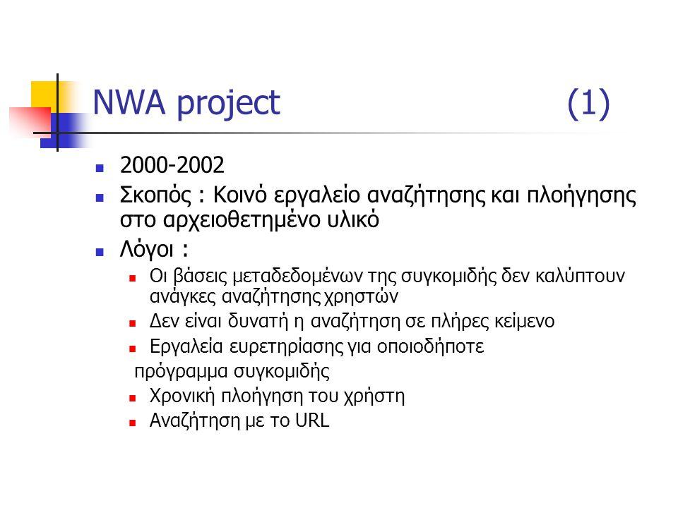 NWA project(1) 2000-2002 Σκοπός : Κοινό εργαλείο αναζήτησης και πλοήγησης στο αρχειοθετημένο υλικό Λόγοι : Οι βάσεις μεταδεδομένων της συγκομιδής δεν καλύπτουν ανάγκες αναζήτησης χρηστών Δεν είναι δυνατή η αναζήτηση σε πλήρες κείμενο Εργαλεία ευρετηρίασης για οποιοδήποτε πρόγραμμα συγκομιδής Χρονική πλοήγηση του χρήστη Αναζήτηση με το URL