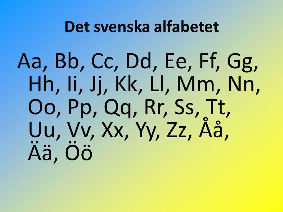 Det svenska alfabetet Aa, Bb, Cc, Dd, Ee, Ff, Gg, Hh, Ii, Jj, Kk, Ll, Mm, Nn, Oo, Pp, Qq, Rr, Ss, Tt, Uu, Vv, Xx, Yy, Zz, Åå, Ää, Öö