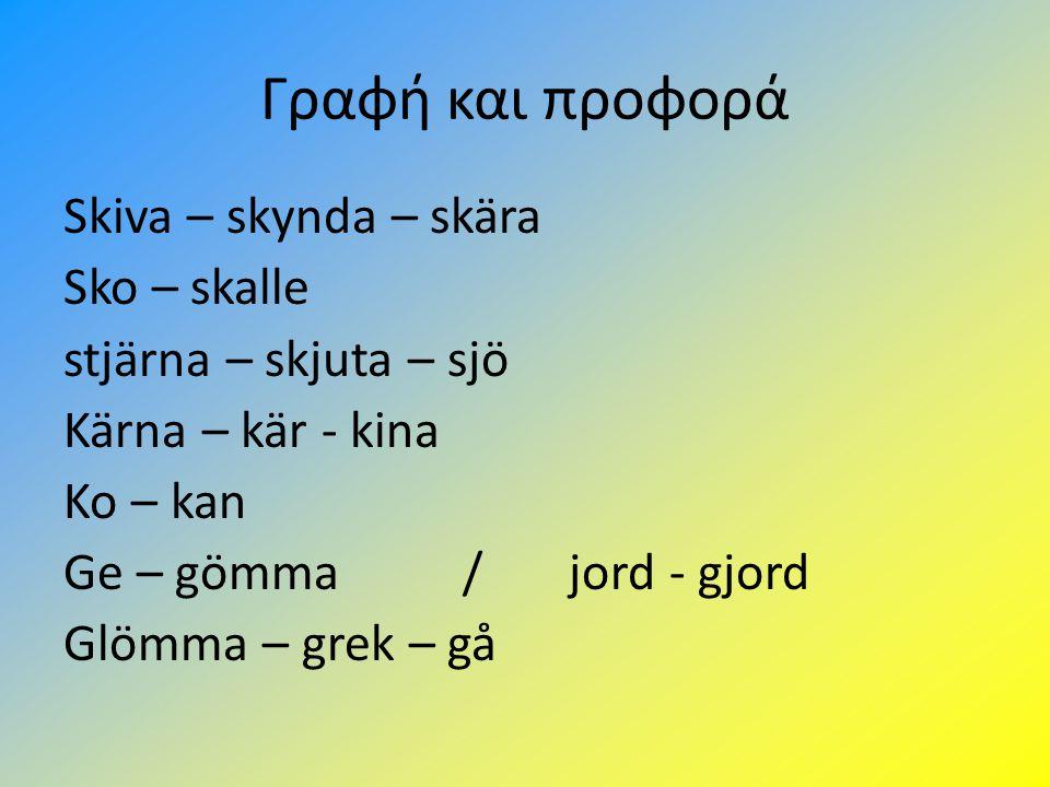 Γραφή και προφορά Skiva – skynda – skära Sko – skalle stjärna – skjuta – sjö Kärna – kär - kina Ko – kan Ge – gömma / jord - gjord Glömma – grek – gå