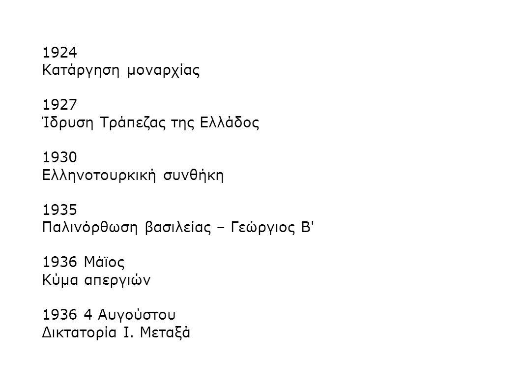 1924 Κατάργηση μοναρχίας 1927 Ίδρυση Τράπεζας της Ελλάδος 1930 Ελληνοτουρκική συνθήκη 1935 Παλινόρθωση βασιλείας – Γεώργιος Β' 1936 Μάϊος Κύμα απεργιώ