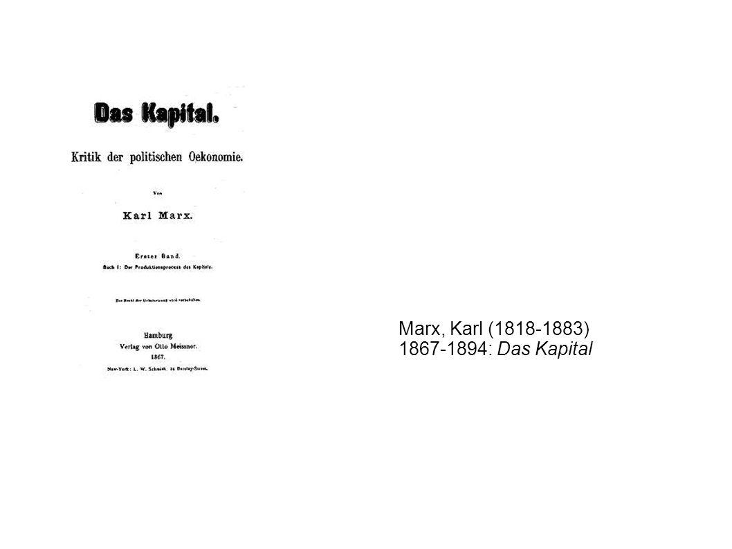 Marx, Karl (1818-1883) 1867-1894: Das Kapital
