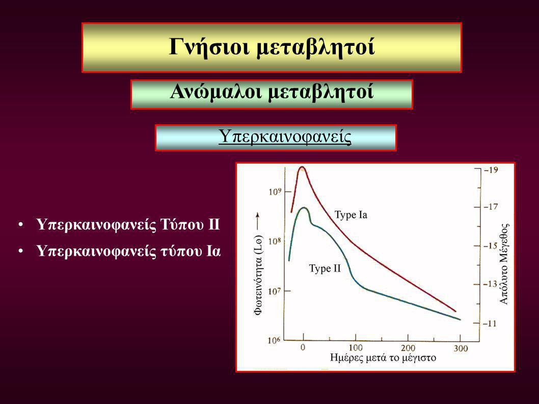 Γνήσιοι μεταβλητοί Υπερκαινοφανείς Υπερκαινοφανείς Τύπου ΙΙ Υπερκαινοφανείς τύπου Ια Ανώμαλοι μεταβλητοί