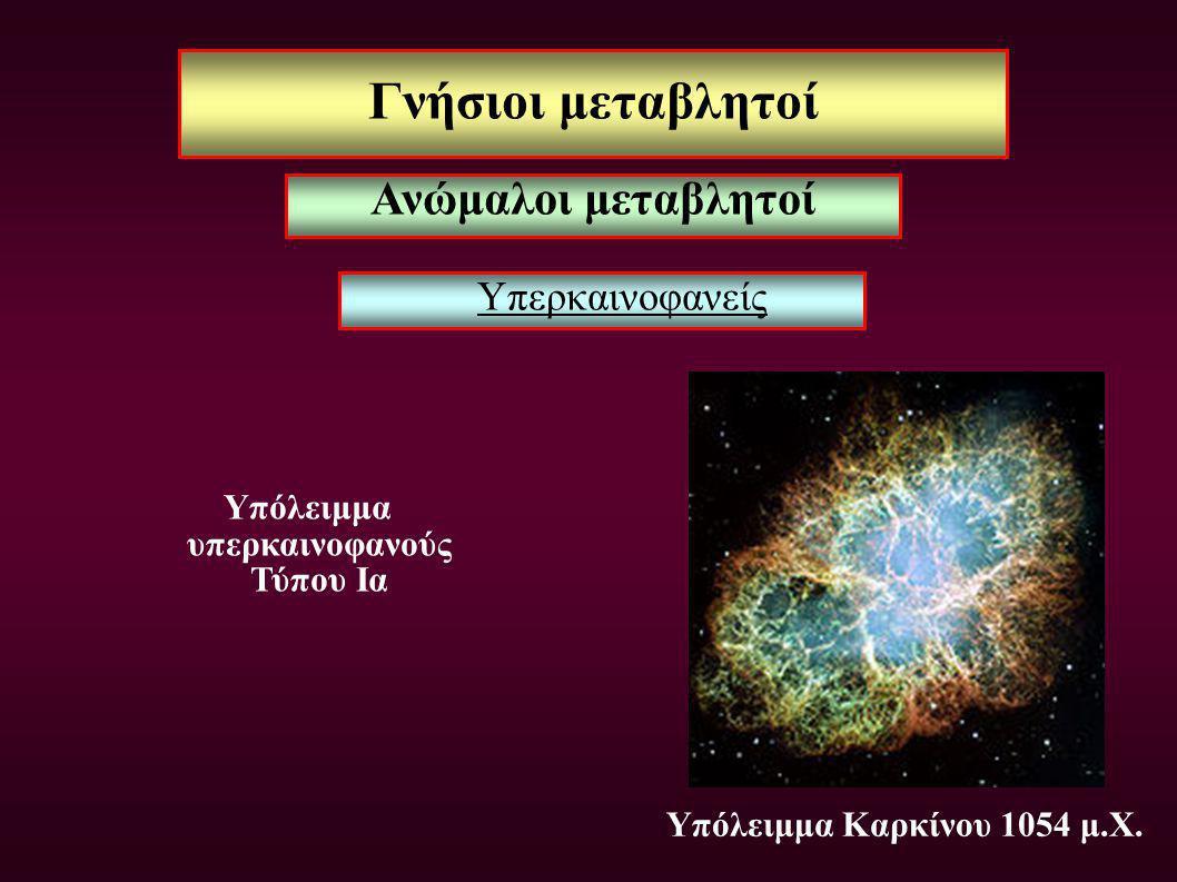 Γνήσιοι μεταβλητοί Υπερκαινοφανείς Υπόλειμμα υπερκαινοφανούς Τύπου Ια Υπόλειμμα Καρκίνου 1054 μ.Χ. Ανώμαλοι μεταβλητοί