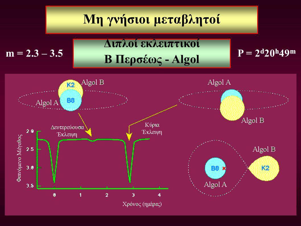Μη γνήσιοι μεταβλητοί Διπλοί εκλειπτικοί Β Περσέως - Algol P = 2 d 20 h 49 m m = 2.3 – 3.5