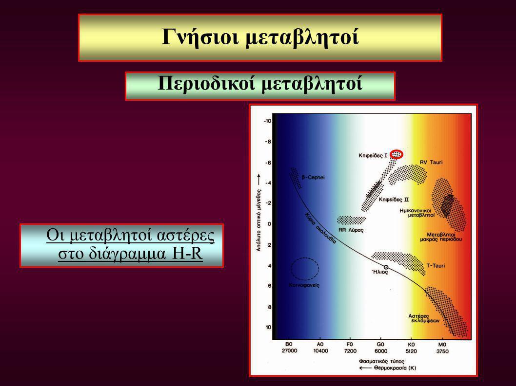 Γνήσιοι μεταβλητοί Οι μεταβλητοί αστέρες στο διάγραμμα H-R Περιοδικοί μεταβλητοί