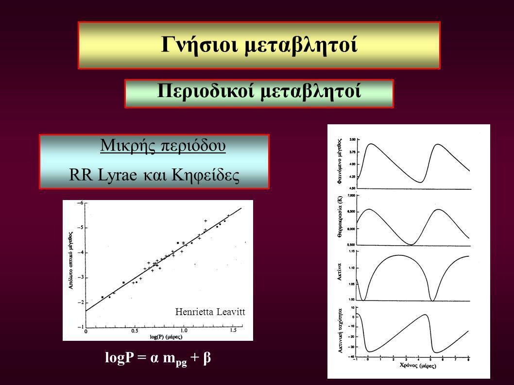 Γνήσιοι μεταβλητοί Μικρής περιόδου RR Lyrae και Κηφείδες logP = α m pg + β Περιοδικοί μεταβλητοί Henrietta Leavitt