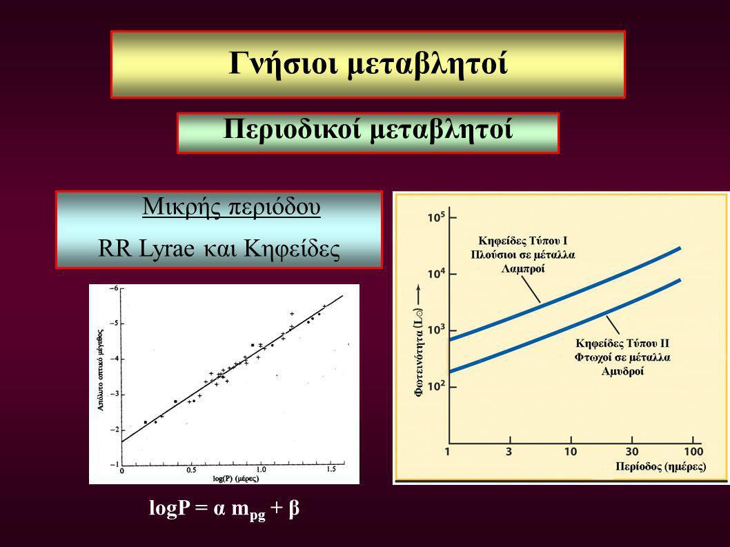 Γνήσιοι μεταβλητοί Μικρής περιόδου RR Lyrae και Κηφείδες logP = α m pg + β Περιοδικοί μεταβλητοί