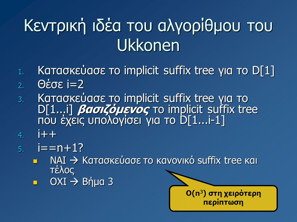 Κεντρική ιδέα του αλγορίθμου του Ukkonen 1. Κατασκεύασε το implicit suffix tree για το D[1] 2. Θέσε i=2 3. Κατασκεύασε το implicit suffix tree για το