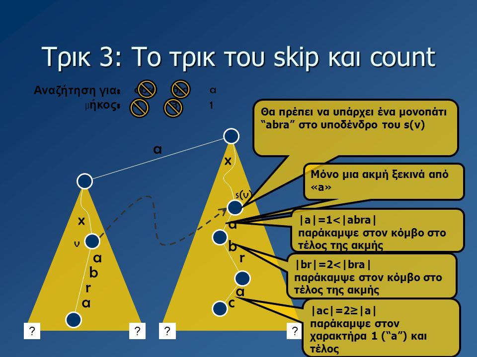 """Τρικ 3: Το τρικ του skip και count x a x ???? v s(v) a b r a a b r a Θα πρέπει να υπάρχει ένα μονοπάτι """"abra"""" στο υποδένδρο του s(v) Μόνο μια ακμή ξεκ"""